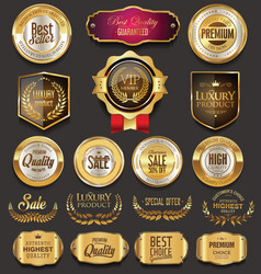 retro vintage golden badges collection vector image