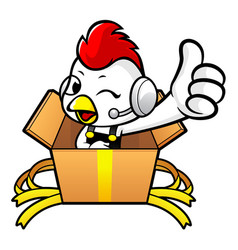Rooster character the best is in a big box vector