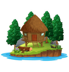 Scene with wooden hut in forest on white vector