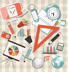 School or Business - Office Objects Set on vector image