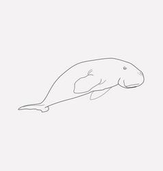 Sea cow icon line element of vector