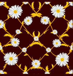 seamless pattern of crossed chamomiles vector image