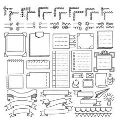 Set bullet journal doodle elements vector