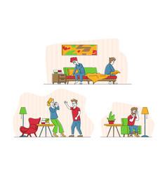 Set couples quarrel domestic violence vector