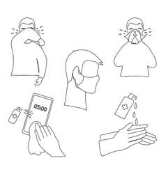 set icons coronavirus prevention measure vector image