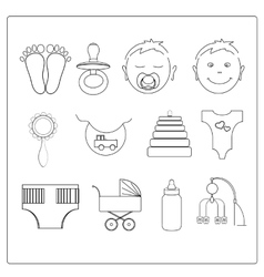 set line baby icons vector image