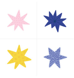 set of color stars in doodle style vector image