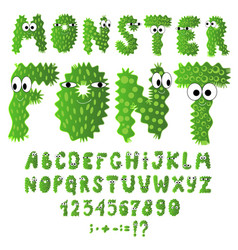 Set of cute cartoon monster font microbes letters vector