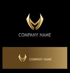 Shape sharp letter m gold logo vector