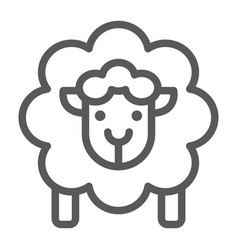 Sheep line icon wool and animal lamb sign vector