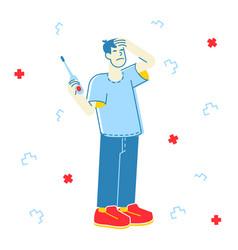 Sick man having fever diseased male character vector