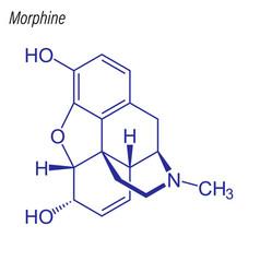 Skeletal formula morphine drug chemical vector
