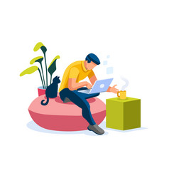 Smart boy working at home vector