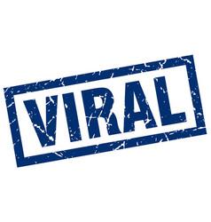 Square grunge blue viral stamp vector
