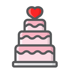 Stacked love cake filled outline icon vector