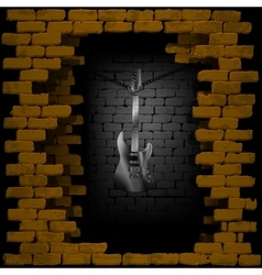 steel guitar in rock breaking through brick wall vector image