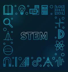 stem blue square frame science outline vector image