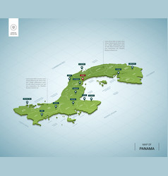 stylized map panama isometric 3d green map vector image