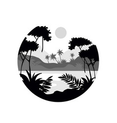 Tropical scenery with palm trees water and vector