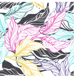 tropical seamless pattern with color leaf vector image
