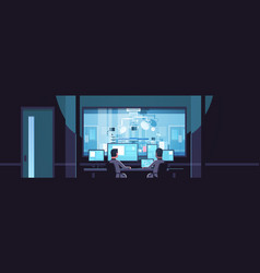 Two men looking at monitors sitting behind glass vector