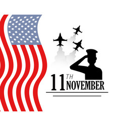 Veterans day with military airplanes and flag vector