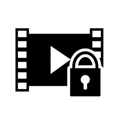 video strip and safety lock icon vector image