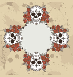 vintage frame with skulls and text place vector image