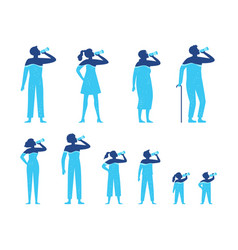 Water balance people drink water from bottle vector