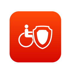 wheelchair and safety shield icon digital red vector image