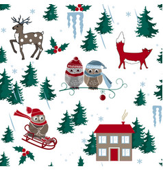Winter seamless pattern with house owls fox and vector