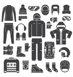 Winter Sports Clothes Outline Icons vector