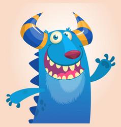 cartoon portrait of smiling blue monster dragon vector image vector image