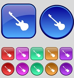 Guitar icon sign A set of twelve vintage buttons vector image vector image