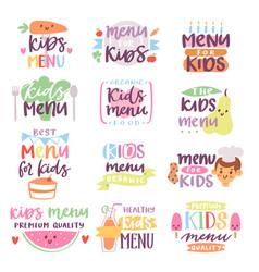 kids menu sign lettering vector image