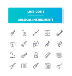 line icons set musical instrumental vector image