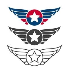 Aviation emblem set badges or logos vector image