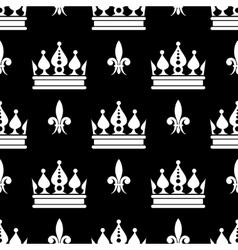 crowns fleur de lis seamless pattern in vector image vector image