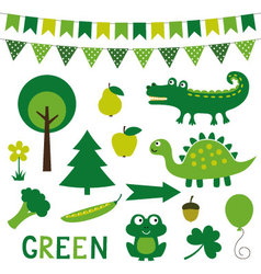 elements in green color vector image vector image