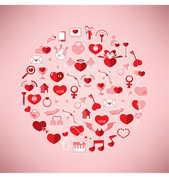 Template Circle Valentines day Love icon vector image vector image