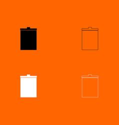trash bucket black and white set icon vector image vector image