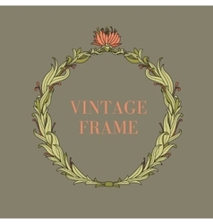 Vintage circle frame with flowers and plants vector image