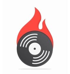 Vinyl with fire logo design vector image vector image