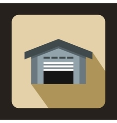 Warehouse with open door icon flat style vector image