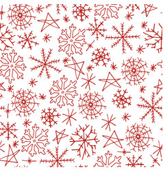 christmas seamless pattern with snowflake on white vector image vector image