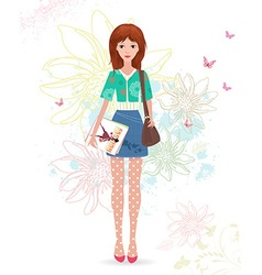 fashion girl with magazines on sketch floral vector image