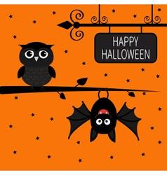 Happy halloween card bat hanging on tree wrought vector