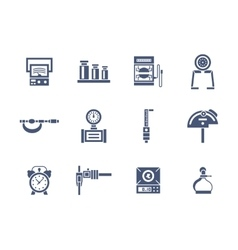 Measurement instruments glyph style icons vector image