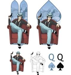 Queen of spades eastern mafioso woman Mafia card vector image vector image