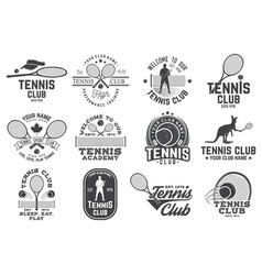 set of tennis club badges vector image